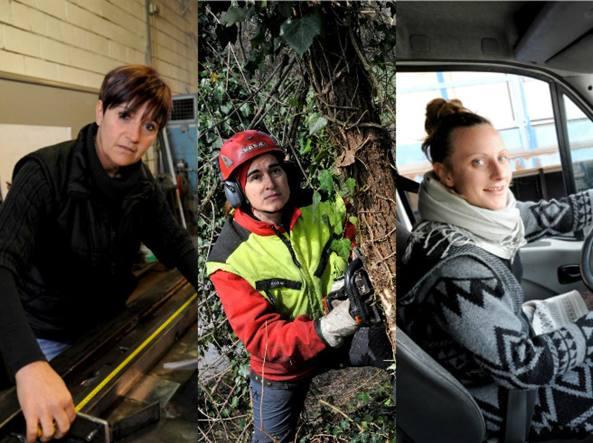Nella foto, da sinistra: Rossella Nigro, fabbro; Giovanna Ciraci, giardiniere; Monica Fontana, furgonista (Fotogramma)