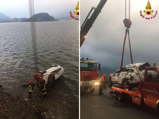 Precipita nel lago di Como: volo di 7 metri, salvo l'automobilista Foto