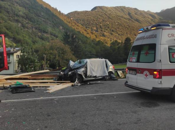 Il drammatico incidente ad Ardenno (foto da GiornalediSondrio.it)