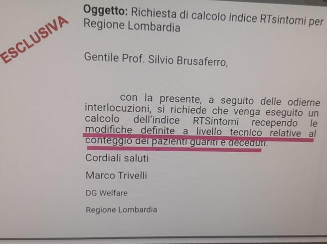 Dati sull'indice Rt, spunta la mail della Lombardia al governo: «Ricalcolatelo»
