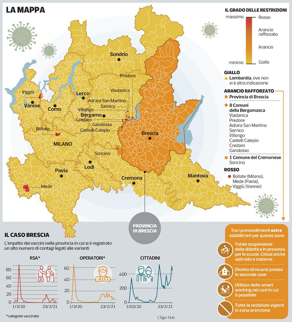 Cartina Lombardia Pavia.Lombardia A Tre Colori Il Nuovo Piano Anti Covid Corriere It