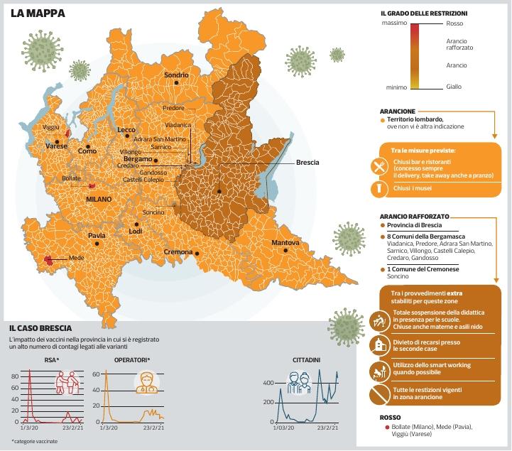 Cartina Economica Lombardia.Covid In Lombardia Guarda La Mappa Corriere It