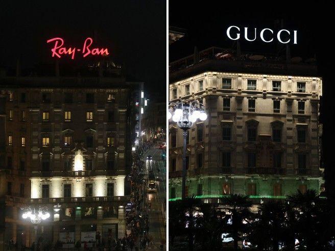 Milano, da Ray-Ban a Gucci: cambia «proprietario» l'ultimo neon pubblicitario di piazza Duomo