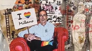 Milano, sui Navigli un nuovo murale di tvboy: il sindaco Sala con i calzini arcobaleno