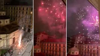 Via Lecco, i fuochi d'artificio visti dalla finestra