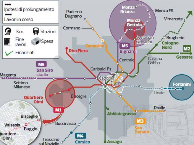 Cartina Metro Rossa Milano.Metro Rossa Sbloccati 210 Milioni La Linea 1 Arrivera A Baggio Fondi Anche Per Il Full Electric